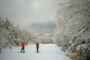 Karen and Dawn have the trail to themselves in this winter wonderland on our Loon trip